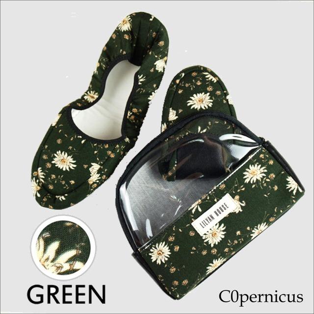 携帯スリッパ ポーチ付き 【green H】/折り畳みスリッパ/ルームシューズ 浜松雑貨屋 C0pernicus