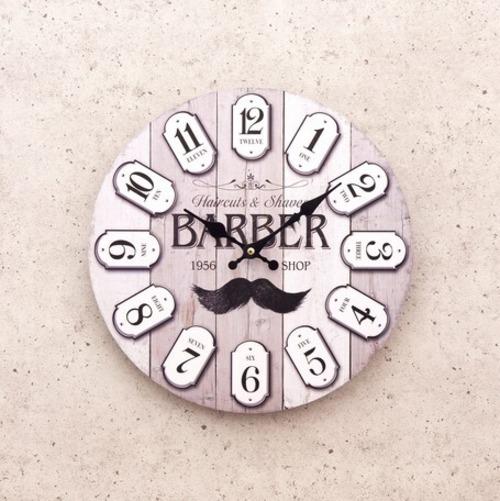 【掛時計】アンティーク調クロック「BARBER SHOP Since 1956」