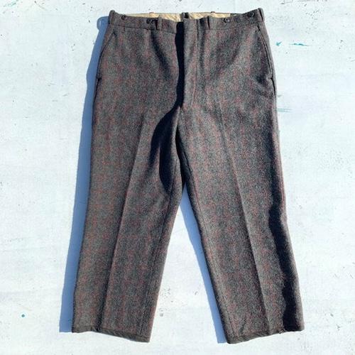 50's Woolrich ウールリッチ Malone Wool Trousers ウールパンツ へヴィー チェック グレー サスペンダーボタン TALON W40 ビッグサイズ アウトドア USA性 希少 ヴィンテージ BA-716 RM1083H