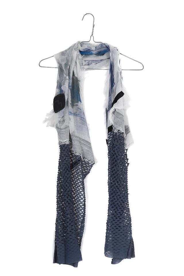 [受注生産][着るアート]W CORNICE-BLUE GRAY【COTTONコットン】ダブルコーニス スカーフハンドペイント  w2176[送料/税込]