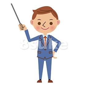イラスト素材:指し棒を使って解説・プレゼンするビジネスマン(ベクター・JPG)