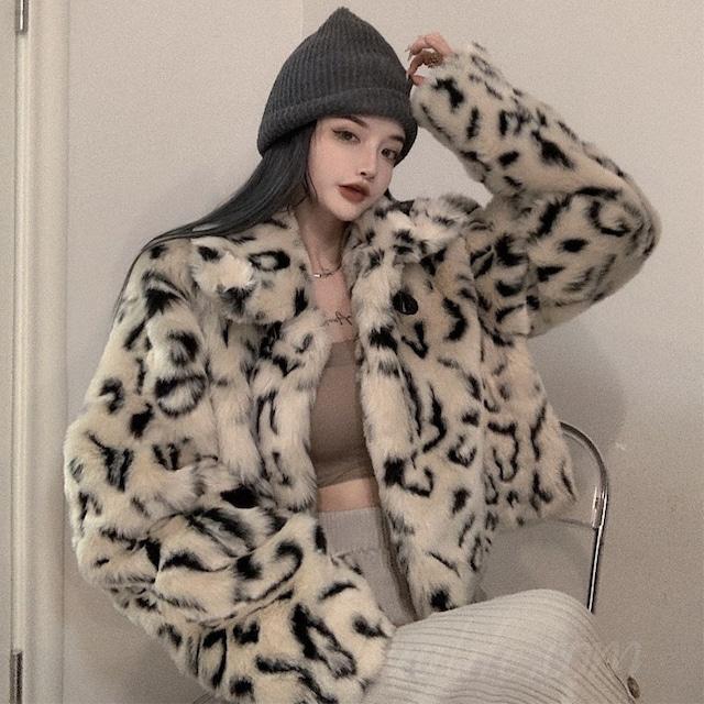 【アウター】韓国系折襟ショート丈ヒョウ柄ジッパーダウンコート35935452