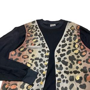90's 豹柄ベスト 騙し絵 L/S Tシャツ