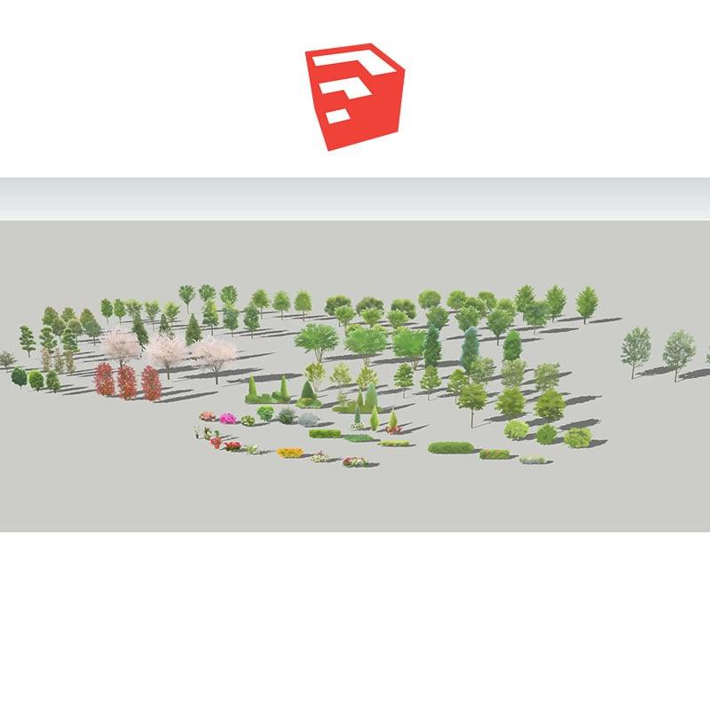 樹木イラストセットSketchUp 4b_006 - 画像1