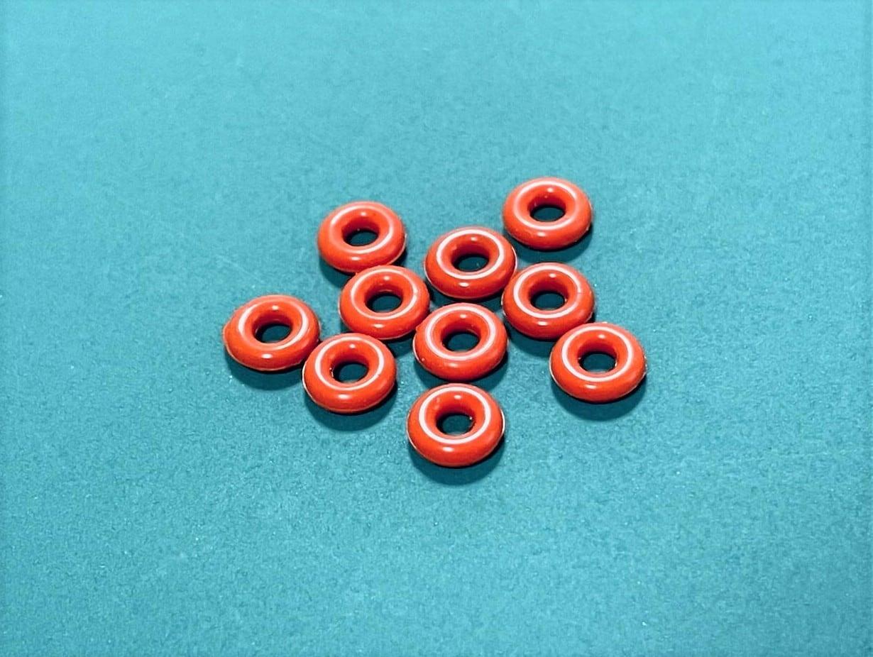 ◆FC震動防止★シリコンOリング  内径2.24mm、リング径1.8mm、外径5.84mm 10個セット 茶色