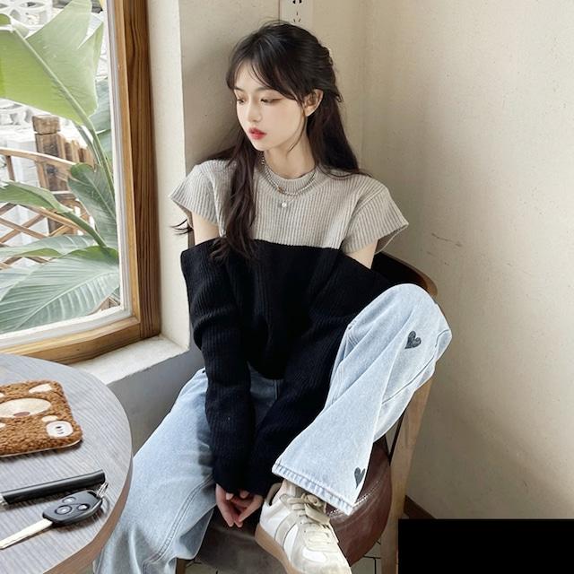 【トップス】ファッション 長袖 ラウンドネック プルオーバー 透かし彫り 配色  セーター53742265