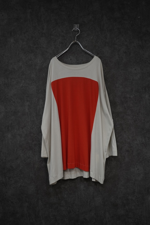 【 Special price 30%OFF】my beautiful landlet lyocell cotton square 3/4 wide tee gry×orange