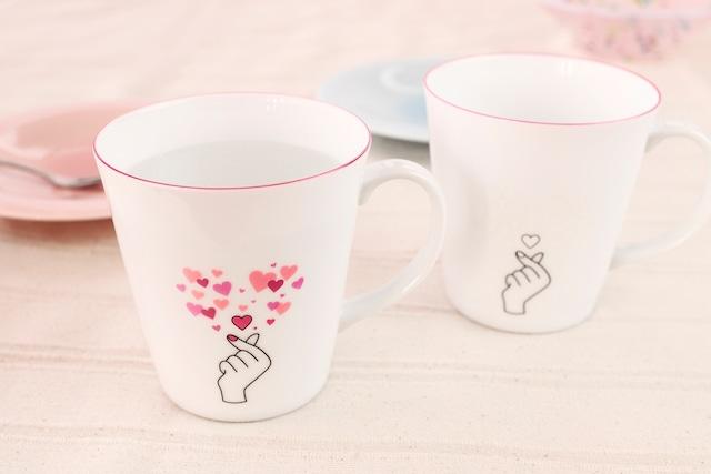 【cmkyun】『マグカップからキュン』『冷感マグカップ』 *母の日 かわいい 温度で変化 キュンマーク 演出 インスタ映え カップ プレゼント