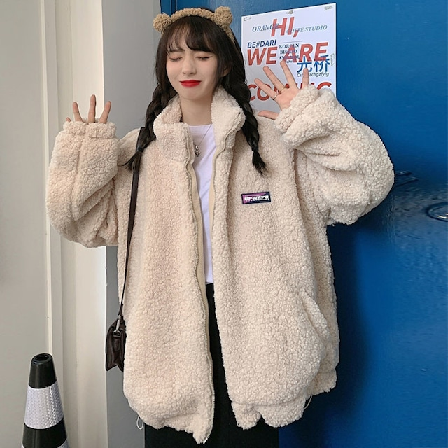 【アウター】大人可愛い! スウィート ファッション 韓国系 無地 スエード ショート丈 長袖 スタンドネック ジャケット53583100