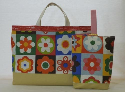 通園バッグセット/大きな花柄イラストの絵本バッグセット(5-184)
