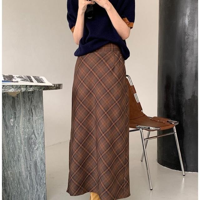 Check long skirt KRE998
