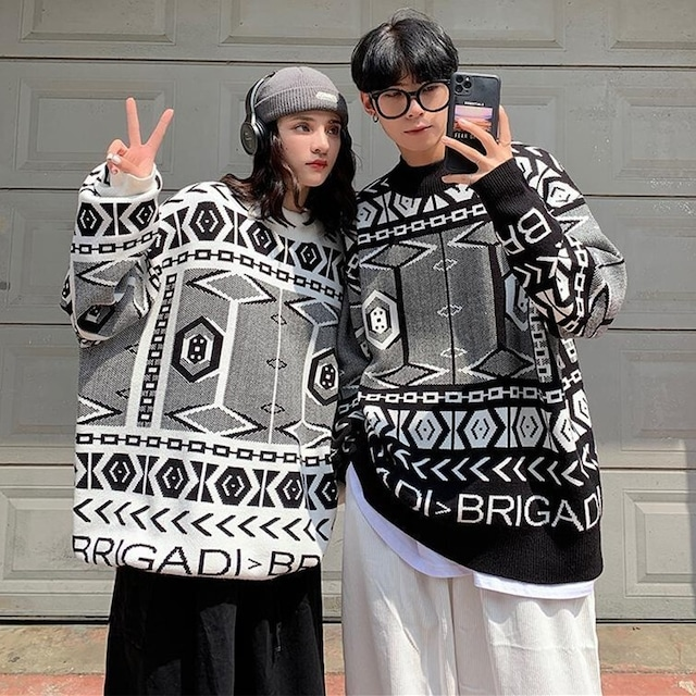 【トップス】民族風ファッション男女兼用長袖ネットセーター53643958