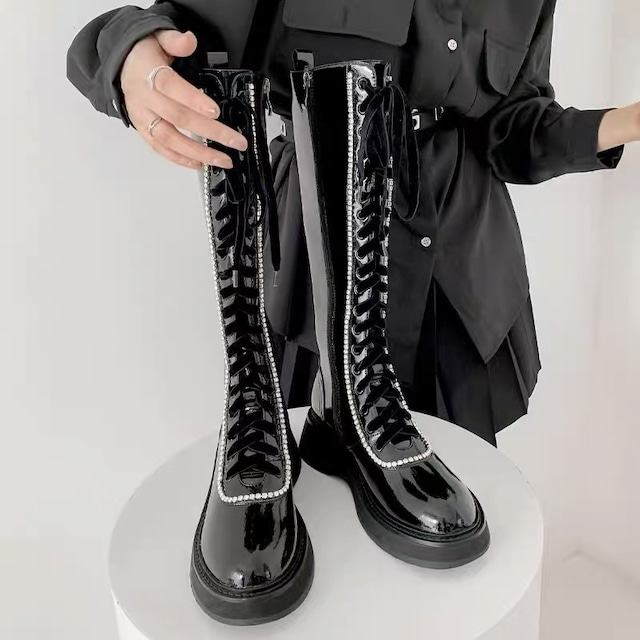 studs line long boots