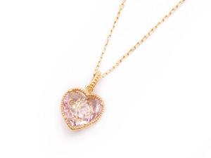 Sweet Heart 宝石質アメジスト K10 ネックレス 42cmまで調整可 スライドボールつき