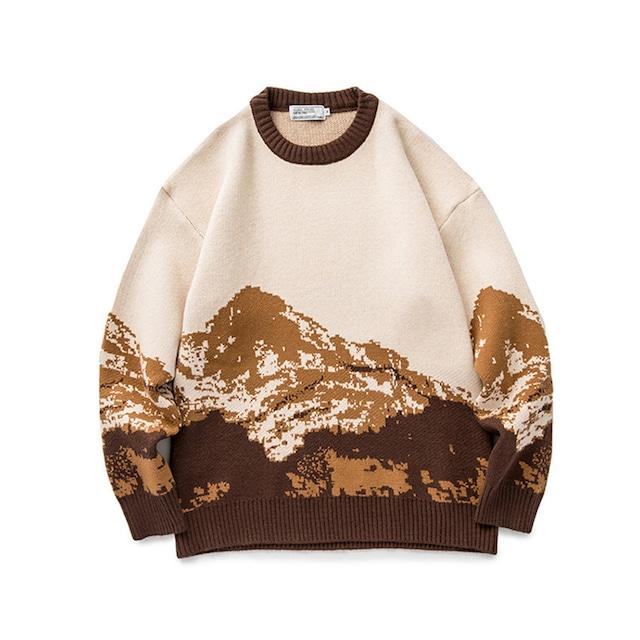 スノーマウンテンプルオーバーセーター |ニット セーター ノルディック柄 オーバーサイズ