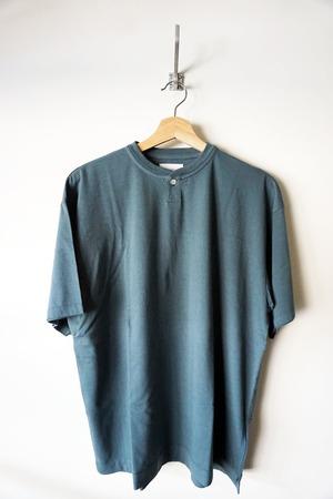 Suvin Cotton Henley Neck T-shirt [ Green Blue ]