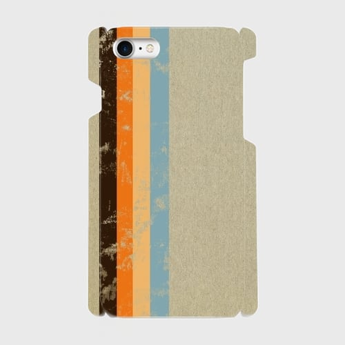 レトロストライプ(灰・黒・橙・薄橙・水) / iPhoneスマホケース(ハードケース)