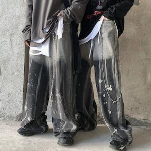 【ボトムス】暗黒ストリート系ファッションカジュアルプリントパンツ42916955