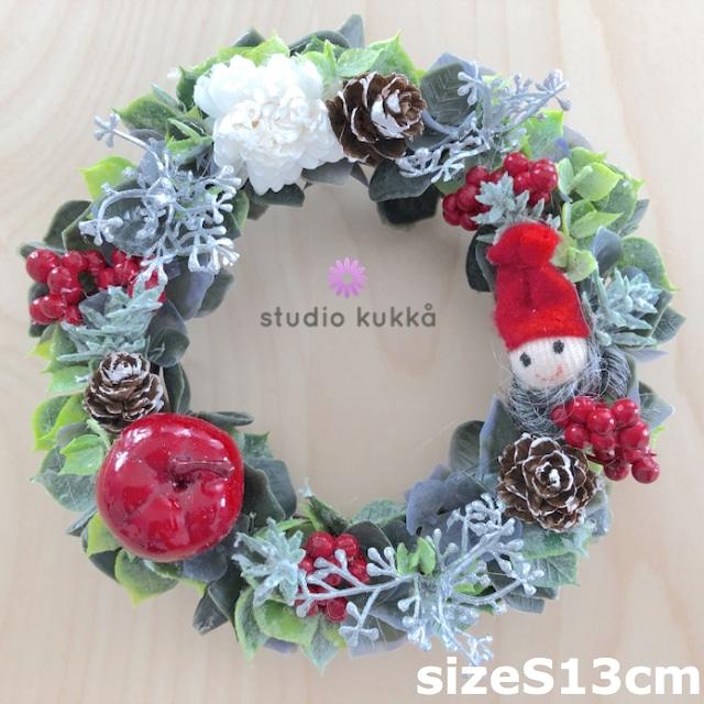 送料無料 <受注製作> 直径13cm♡小人のクリスマスミニリース  ベリー アップル ユーカリ ヘリクリサム プチギフト