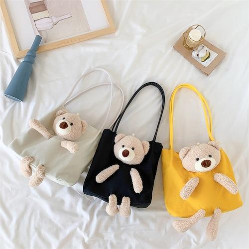 かわいいクマちゃんぬいぐるみの帆布バッグ ショルダーバッグ 韓国ファッション レディース メッセンジャーバッグ キャンバスバッグ クマ ベアー ぬいぐるみ カジュアル DTC-619923273470