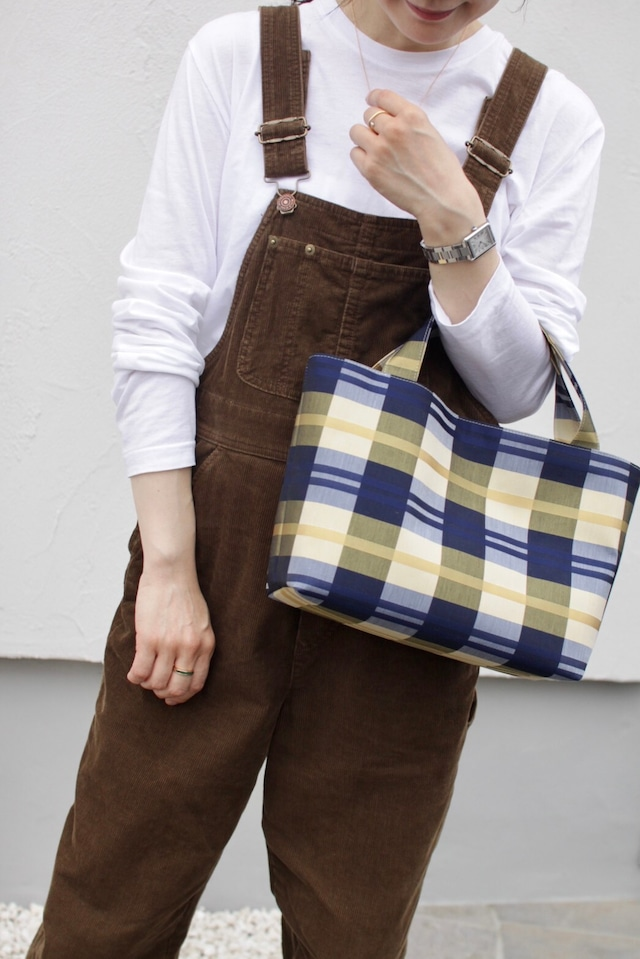 Square tote  -Yellow × Navy