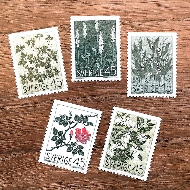 切手(未使用)「北欧の野生の花 - 5種セット(1968年発行)」