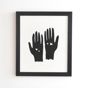 フレーム入りアートプリント HANDS EYE BLACK  BY MAMBO ART STUDIO【受注生産品: 11月下旬頃入荷分 オーダー受付中】