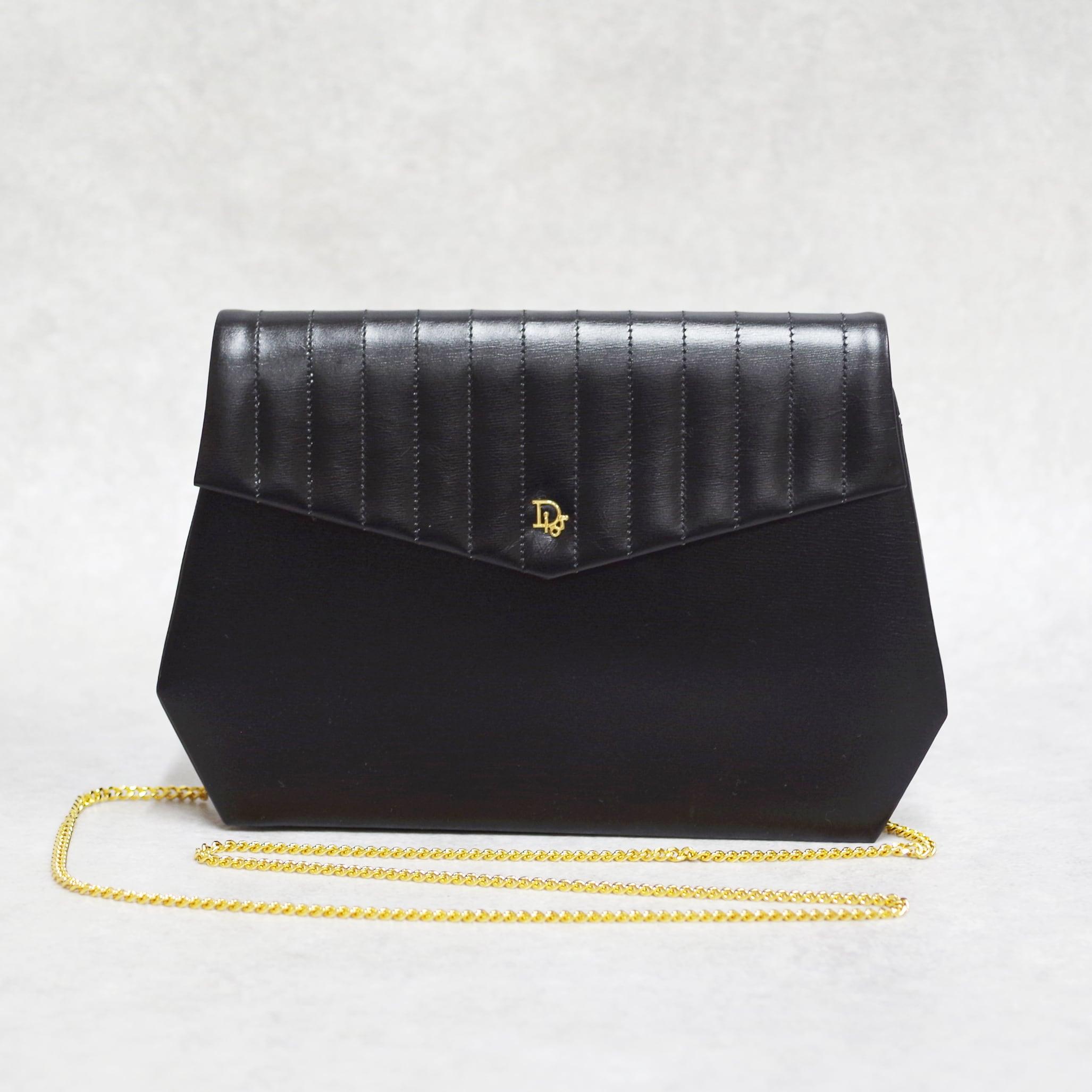 Christian Dior ディオール ショルダーバッグ レザー ブラック