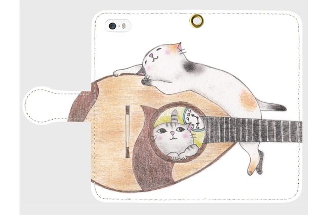 (iPhone用)マンドリン猫の手帳型スマホケース