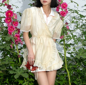 〔Designer+ 〕yellow lace blouse