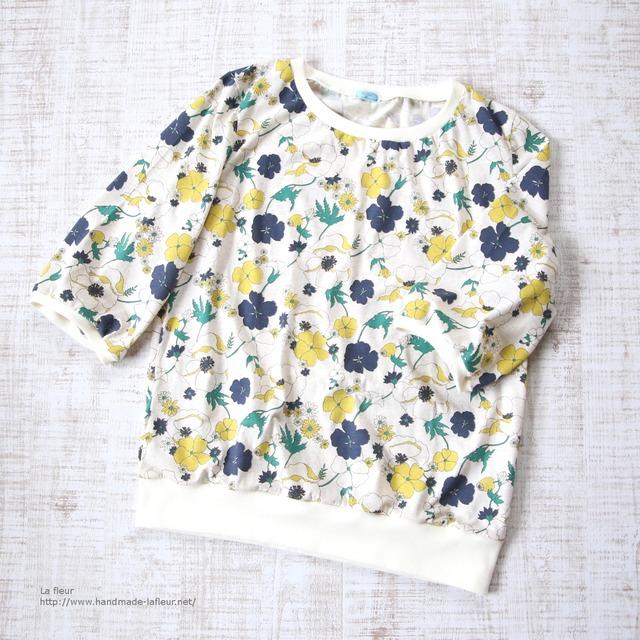 【L】七分袖プルオーバー*カットソー レトロ花柄 パフスリーブ/Lafleur