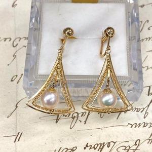 まるでヨーロッパの王女様のような雰囲気✨K18真珠フィリグリー透かし△トリリアント△イヤリング!