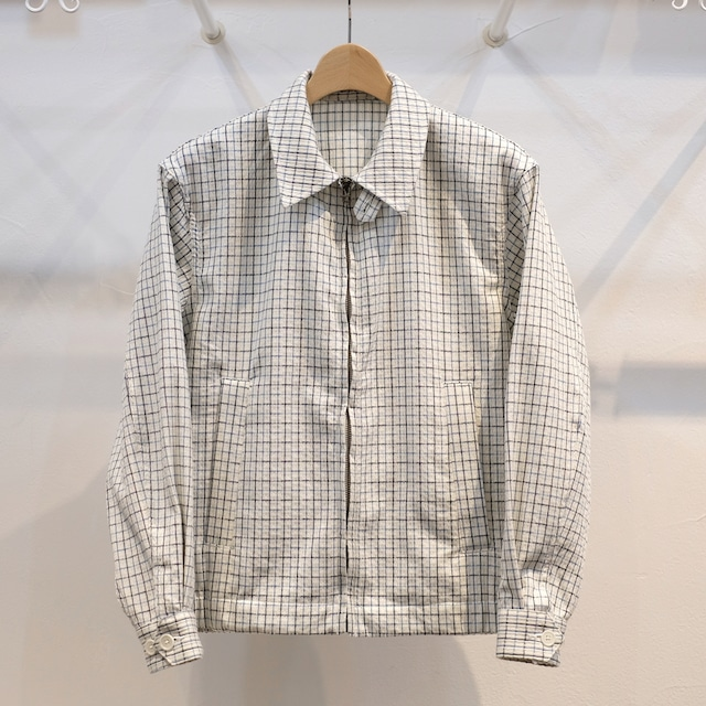 KUON(クオン) 遠州藍染刺し子チェック生地 ハリントンジャケット
