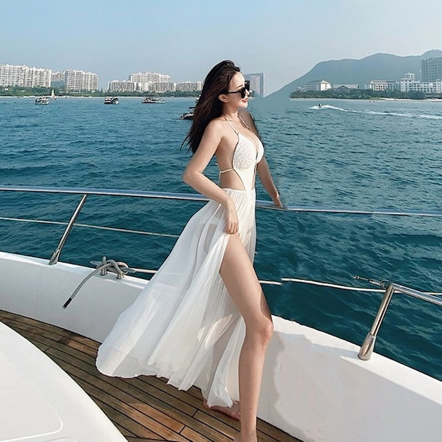 水着 セクシー 2点セット 女性らしい 着痩せ 白 ボートネックデザイン ノースリーブ ホワイト M L XL