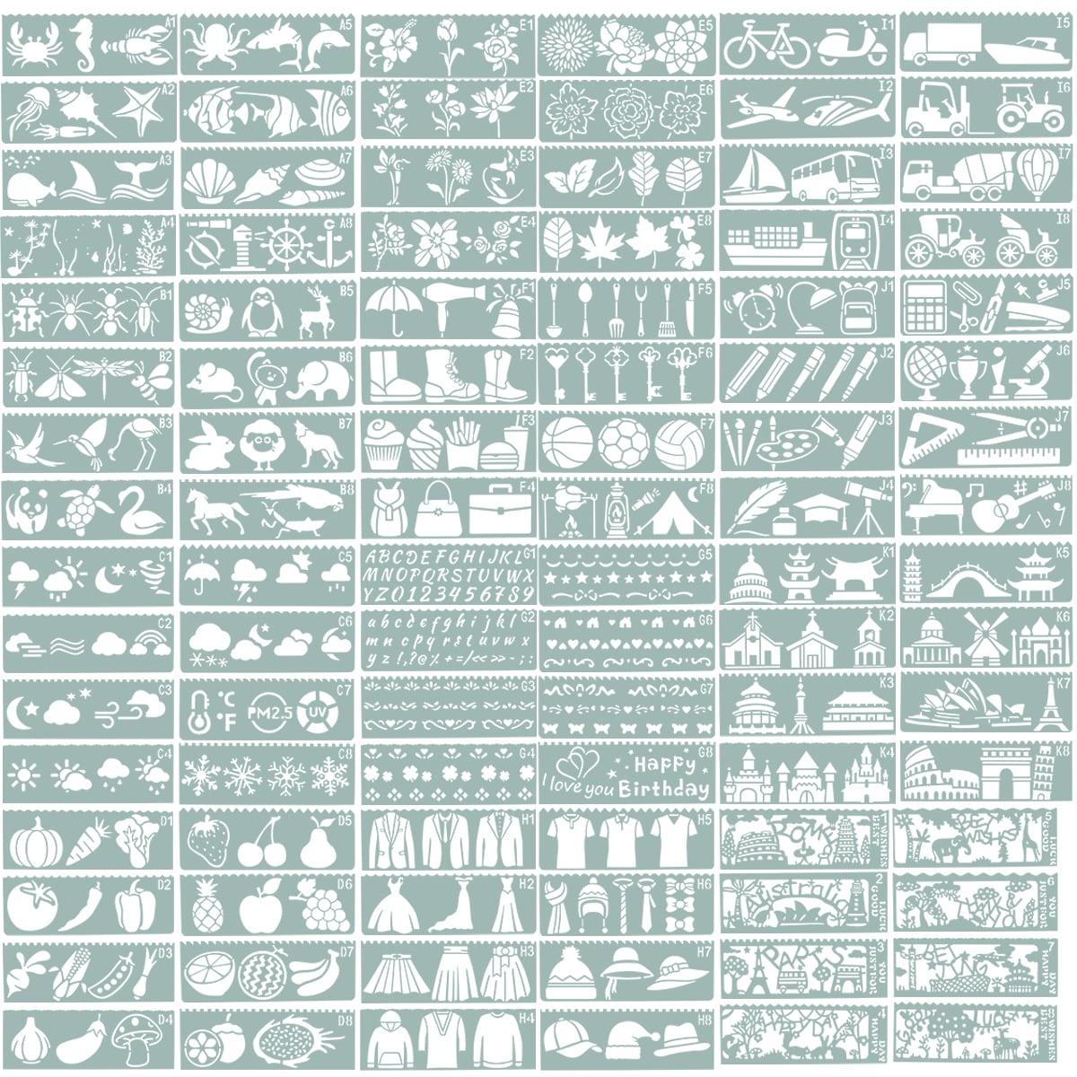 YNAK ステンシルシート テンプレート 型 大容量 96枚 ステンシル筆 セット 花柄 動物 アルファベット 数字 など メッセージカード グリーティングカード ジャーナルカード スクラップブッキング 日記 DIY 制作