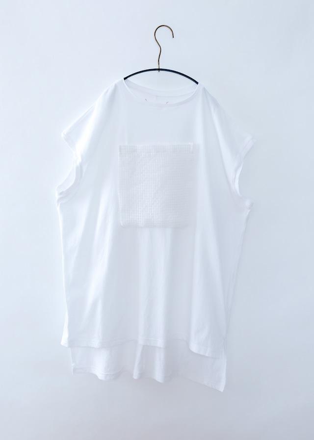 【20SS】ミチリコ(michirico) メッシュポケットTシャツワンピース ホワイト[L / XXL ]