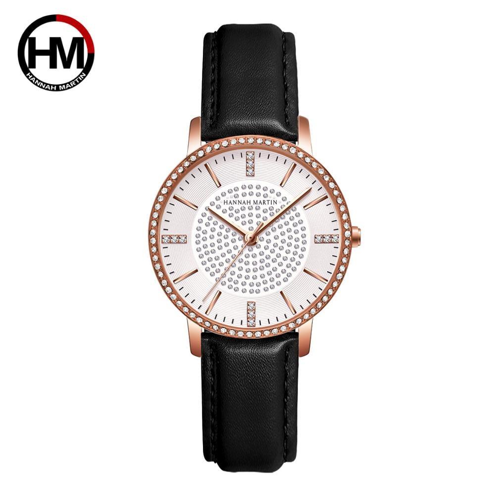 ステンレス鋼ストラップ日本運動ローズゴールドダイヤモンド女性ラインストーン腕時計女性クォーツ時計1074PH1