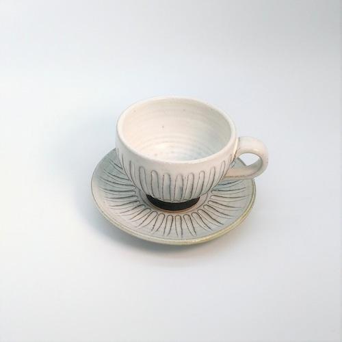 カップ&ソーサー(シノギ)B 【仁 陶器工房】