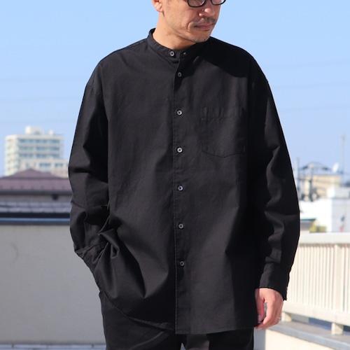 6oz Oxford Band Collar L/S Box-A Line Shirts Black