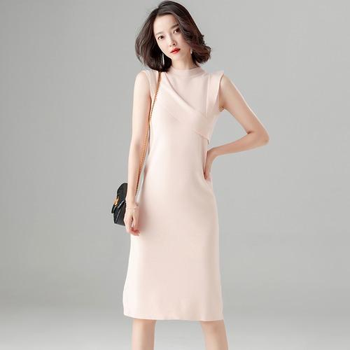 ハイネックワンピース ノースリーブ フリル 膝丈 レディース ファッション 上品 フェミニン シンプル お呼ばれ 女子会(A822)