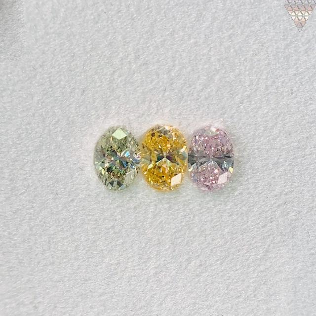 合計  0.55 ct 天然 カラー ダイヤモンド 3 ピース GIA  3 点 付 マルチスタイル / カラー FANCY DIAMOND 【DEF GIA MULTI】