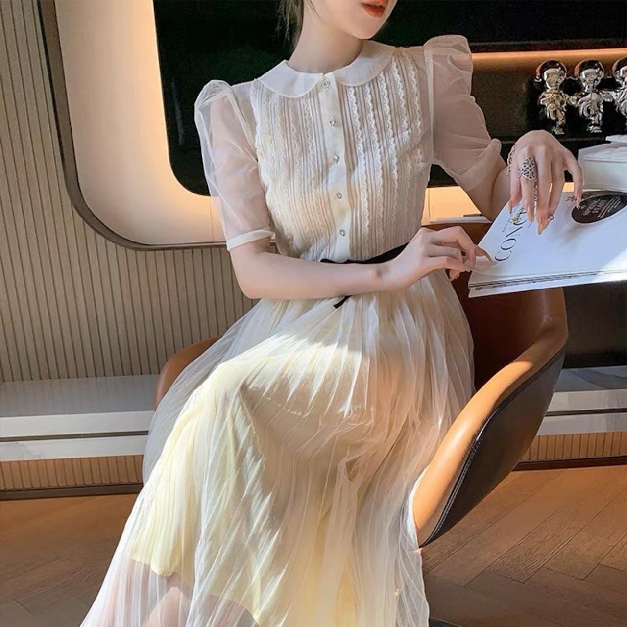 round neck pleats dress