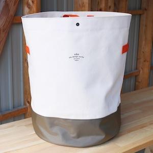 CANVAS STORAGE BAG (white×khaki/orange tape)