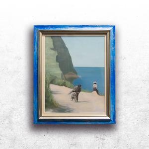 【絵画 油彩】『カプリ島の岸辺-ポストマンの少年は岸辺に座す娘を夢見て』 B5変形 額入り