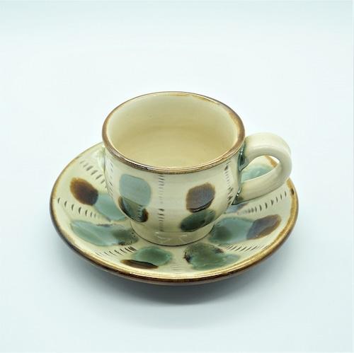 コーヒーカップ&ソーサー 三彩【壺屋焼窯元 幸陶器】