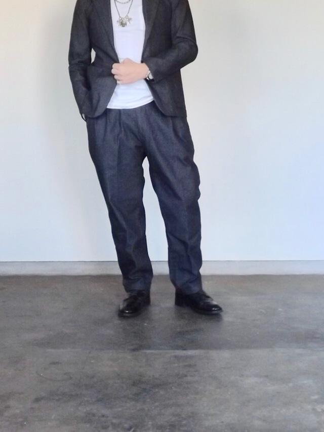 Mens [CM010] 40s Engineer Denim trouser   Wide 2tack  デニムトラウザーズ (クロキデニム)太め,ストレッチ,ワイドテーパード.