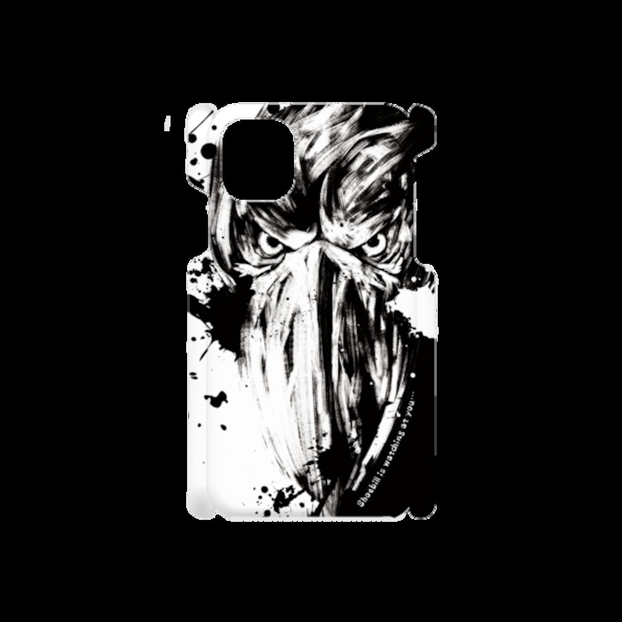 iPhone/Android スマホケース★墨絵ハシビロコウ【白×黒】