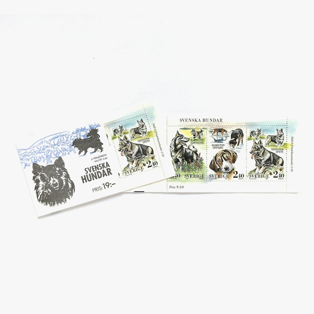 切手帳(未使用)「スウェーデンの犬 - 3枚構成 × 2シート(1978)」
