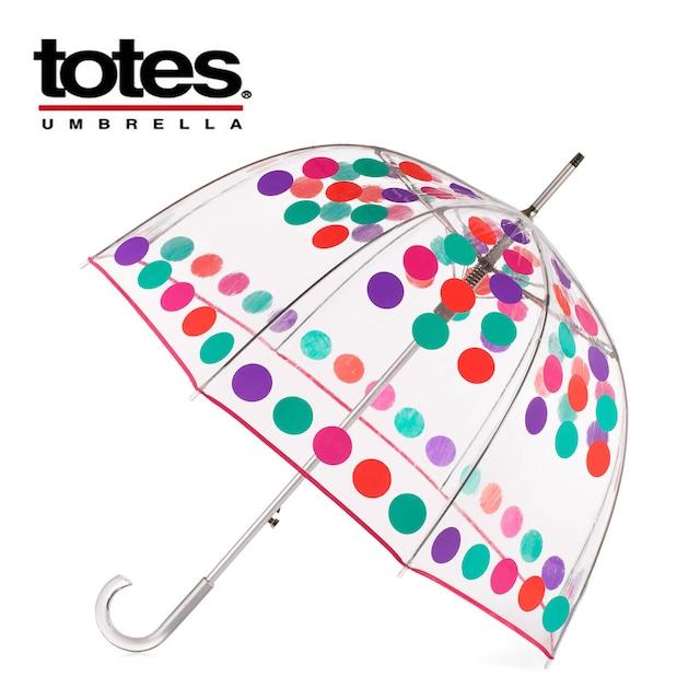 TOTES トーツ傘 レインボードット バブル アンブレラ ワンタッチオープン