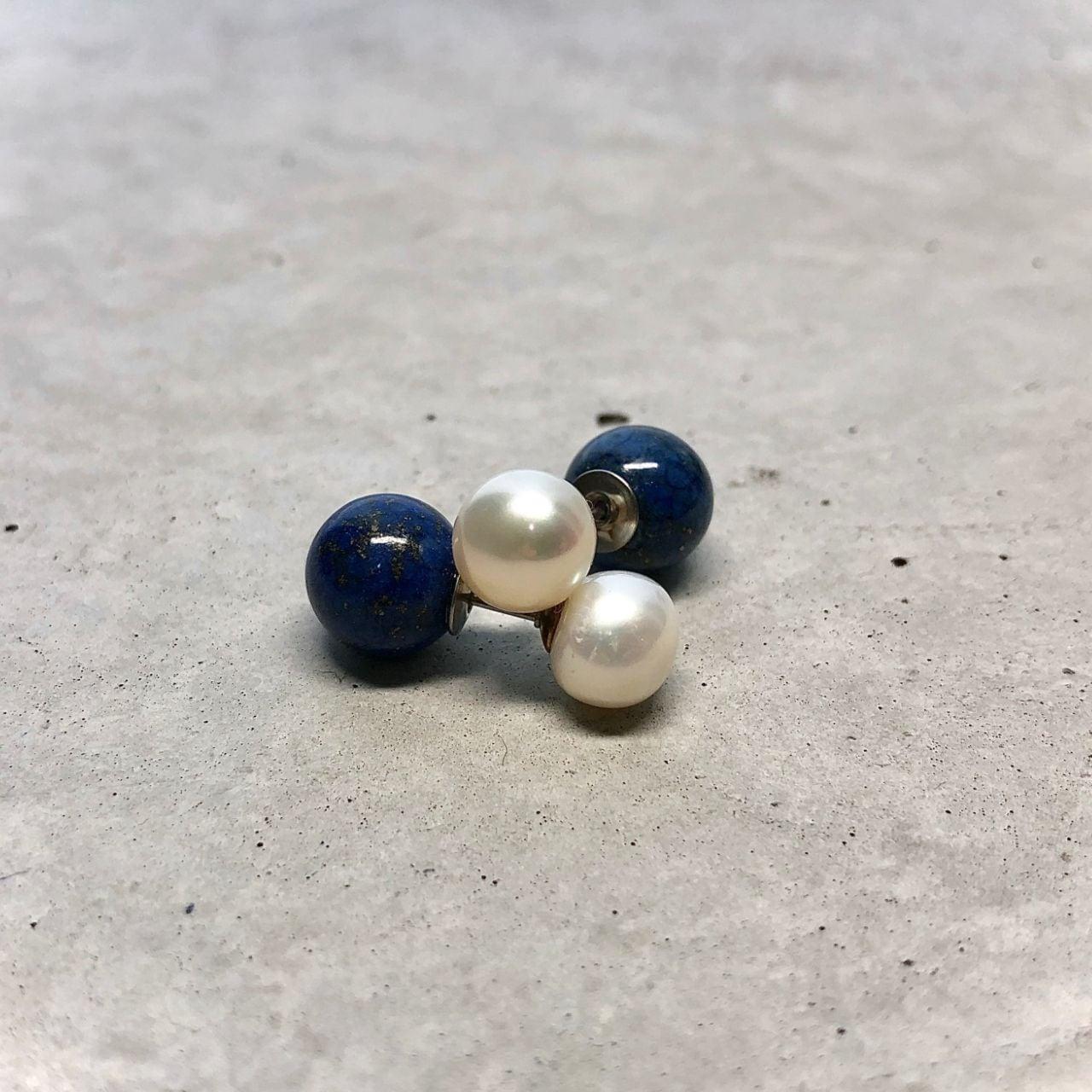 【LP-8】Reversible  pierced  Fresh water pearl × lapis lazuli